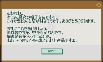 2011・10・24 サブクエ28 初級③ 納品コメント 魔女の帽子.png